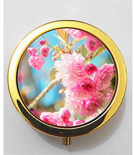 Price comparison product image RainbowSky The cherry blossom Mini Portable Pocket Purse Pill Box Case,  3 Compartments,  Gold,  G903