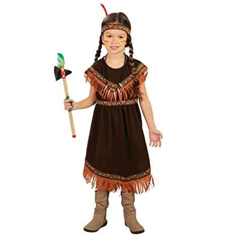 Fiestas Guirca Disfraz de Mujer India Tabea Vestido marrón Oscuro ...
