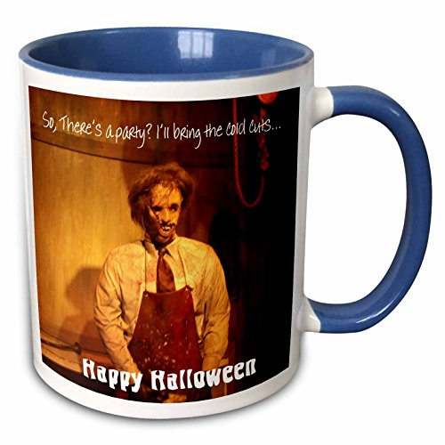 3dRose Dawn Gagnon Photography Halloween Designs - Happy Halloween Texas style, gruesome villan offers to bring cold cuts to your Halloween Party - 11oz Two-Tone Blue Mug (mug_160152_6)