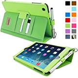 Snugg iPad Mini & Mini 2 Case - Smart Cover with Flip Stand & Lifetime Guarantee (Green Leather) for Apple iPad Mini & Mini 2 with Retina