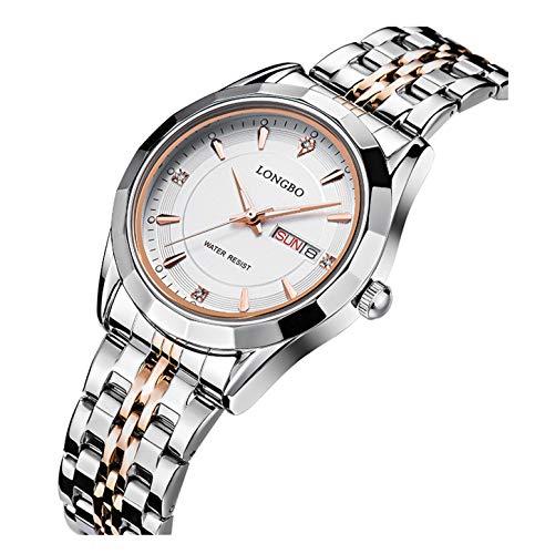- FANMIS Fashion Casual Silver Rose Gold Stainless Steel Strap Rhinestone Waterproof Calendar Quartz Women Watches White