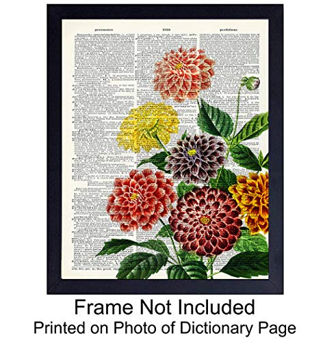 Dahlias Dictionary Wall Art Print - Ready to Frame (8X10) Vintage Photo - Steampunk - Great For Home Decor, Flower Lovers and Easy Gift Giving - Perfect Present for Florists and Flower Shops