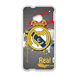 Custom Cell Phone Case HTC One M7 White Case Cover Real Madrid Football Club FC Logo 12QQ4695522