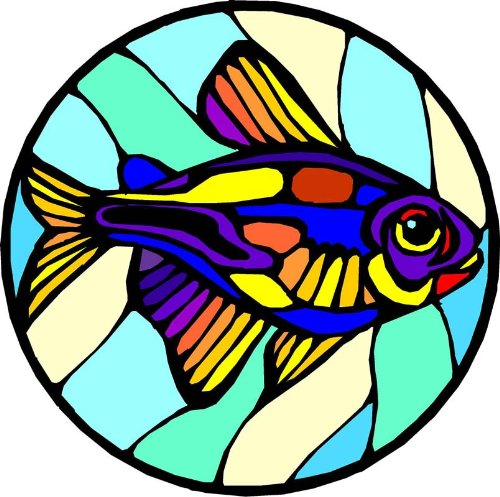 Multi-Colored Fish - Etched Vinyl Stained Glass Film, Static Cling Window (Custom Static Cling Decals)