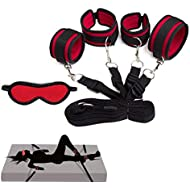 Bed Restraints Kit Under Bed Bondage Eye Mask Blindfolds Soft Wrist and Ankle Handcuffs with Restraint Straps Rope for Couples Sex(Black+Red)