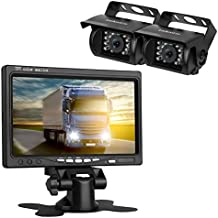 """LeeKooLuu Backup Camera and TFT Monitor Kit 2 Rear View Cameras Night Vision Waterpoof & 7"""" Dispaly Dual 33 ft RCA Cables Single Power Rear view / Full time View for Bus/Truck/Trailer/RV/ Campers"""