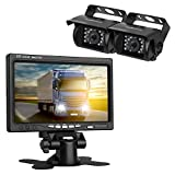 LeeKooLuu Backup Camera and TFT Monitor Kit 2 Rear View Cameras Night Vision Waterpoof & 7' Dispaly Dual 33 ft RCA Cables Single Power Rear view / Full time View for Bus/Truck/Trailer/RV/ Campers