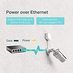 TP-Link 5 Port Gigabit PoE Switch | 4 Port PoE 56W | 802.3af Compliant | Shielded Ports | Traffic Optimization | Plug…