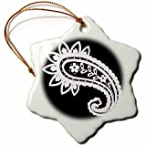 3dRose RinaPiro Patterns - Abstract. Black and white. - 3 inch Snowflake Porcelain Ornament (orn_268747_1)
