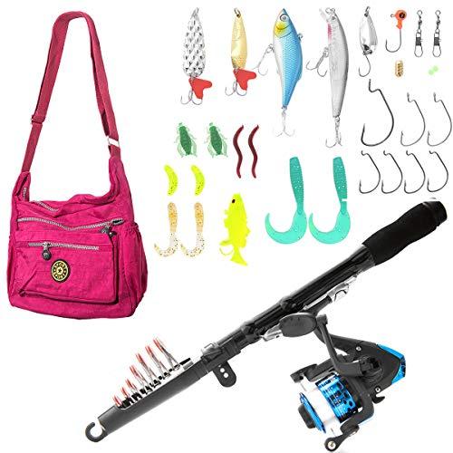 (SUNNYGO Kids Telescopic Fishing Rod Reel and Hooks Combos, Portable Rod for Kids Kit Travel Saltwater Freshwater Fishing)