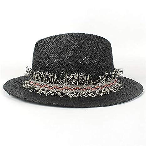 a3d14aaedd117 Image Unavailable. Image not available for. Color  ALWLj Fashion Sun Hat  Summer Women Men Raffia Straw Tassel Sun Hat Elegant Lady Queen Panama