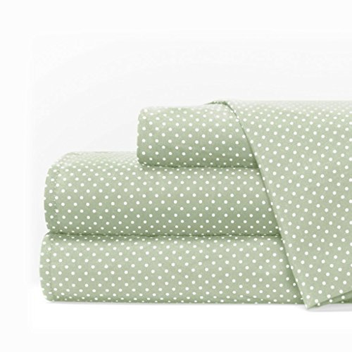 Egyptian Luxury 1600 Series Hotel Collection Pindot Pattern Bed Sheet Set - Deep Pockets, Wrinkle and Fade Resistant, Hypoallergenic Sheet and Pillowcase Set - Queen - Sage/White