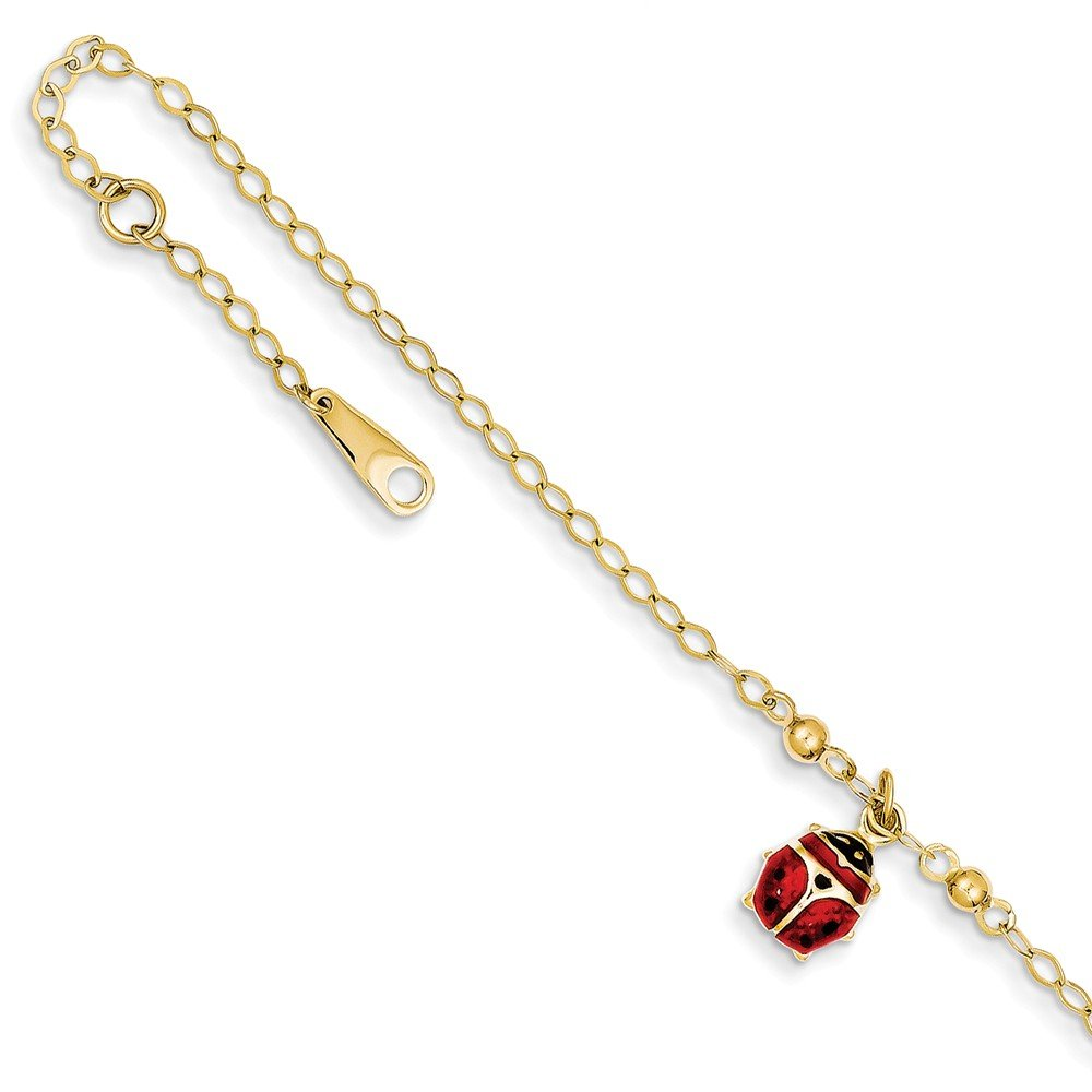 14k Yellow Gold Adjustable Chain Plus Size Extender Enameled Ladybug Anklet Ankle Beach Bracelet Animal Fine Jewelry Gifts For Women For Her