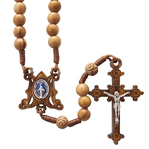Olive Wood and Cord Rosary with Miraculous Medal Centerpiece ()