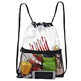 Clear Drawstring Bag, PVC Drawstring Backpack with Front Zipper Mesh Pocket