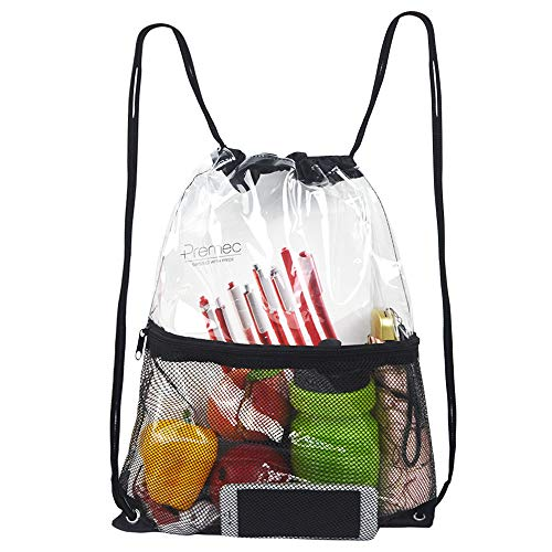 Clear Drawstring Bag, PVC Drawstring Backpack with Front Zipper Mesh Pocket ()