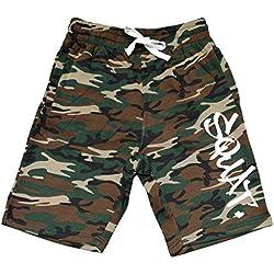 Men's Graffiti Squat V437 Camo Fleece Jogger Sweatpant Gym Shorts X-Large Black