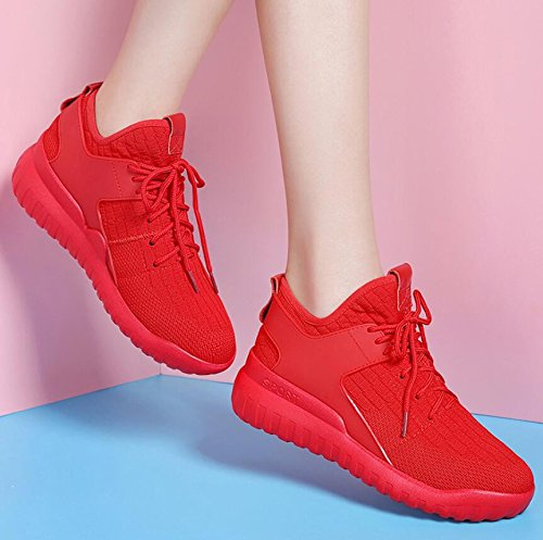 KHSKX-The Red Single Shoes Women Shoes Casual Shoes Flat Bottom Trend Breathable Running Shoes 38 wK5ReI