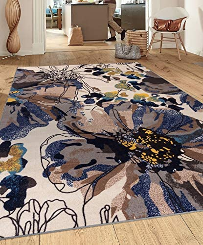Modern Bright Flowers Non-Slip Non-Skid Area Rug 8 x 10 7' 10″ x 10' Cream