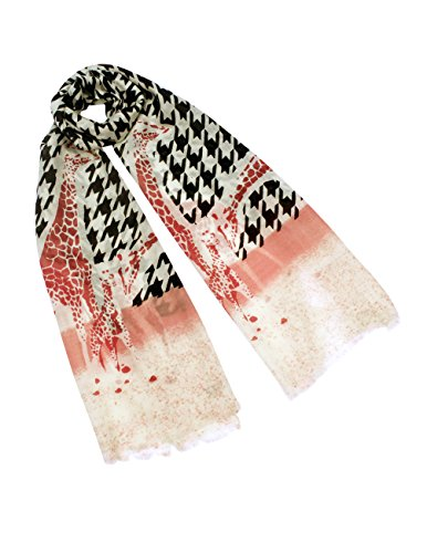 Dahlia Women's 100% Wool Scarfs, Wraps, and Shawls Houndtooth with Red Giraffe