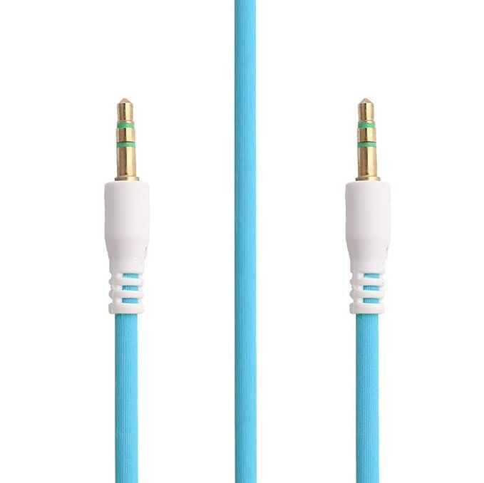 Amazon.com: DealMux PC 3,5 mm macho para macho conector de extensão Stereo AUX Cabo de áudio Car Cord azul 1.02m longo: Electronics