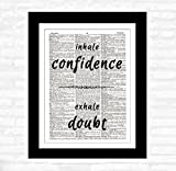 framed inspirational quotes - Confidence Doubt DICTIONARY ART PRINT - Inspirational Quotes - Wall Hanging Home Decor – Ready-to-Frame Upcycled Vintage Dictionary Prints