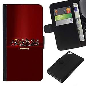 EJOY---Tirón de la caja Cartera de cuero con ranuras para tarjetas / HTC Desire 820 / --Tf 2 Equipo F0Rtress Juego