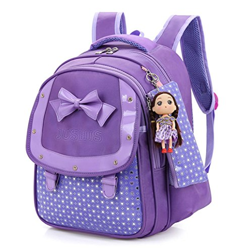 Leewa Girls School Bag Bowknot Heart Dot Shoulder Zipper Soft Toddler Backpack 3PcsSet (Purple) by Leewa