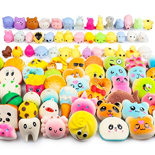 WATINC 60 Pcs Squishies, Birthday Gifts for Kids Party Favors, 30 Pcs Slow Rising Kawaii Simulation Bread Squishies 30 Pcs Mochi Squishies Cat Panda Goodie Bags Egg Fillers, Keychain Phone Straps