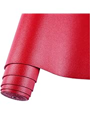 """HGUAN Smooth Solid Color Maroon Red Faux Leather 12""""X53""""(30cmX135cm),Faux Leather Sheets Roll Very Suitable for Making Crafts, Leather Earrings, Bows,Sewing"""
