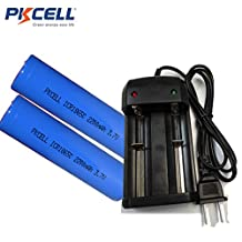 2 Pack 18650 3.7V Li ion 2200mAh Rechargeable Flat Head Battery with battery Charger for 18650 18500 14430 10450 10440