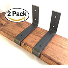 """2 Pack - 5.5""""L x 4""""H Lip Brackets, Handcrafted Forged Rustic Salvaged Metal Shelf Modern decorative bracket for shelve Storage Strap Angle hook."""