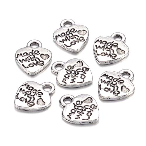 Craftdady 50Pcs Antique Silver Engraved Made with Love Heart Charms 12.2x10mm Tibetan Cadmium Free & Lead Free Tiny Sweet Heart Beads Pendants for DIY Jewelry Bracelet Necklace Earring - Heart Metal Charm Engraved Pendant