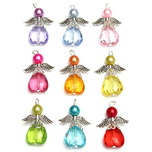 Angels Beads - ChenXi Store 10Pcs Silver Wings Guardian Angel Heart Beads Pendants