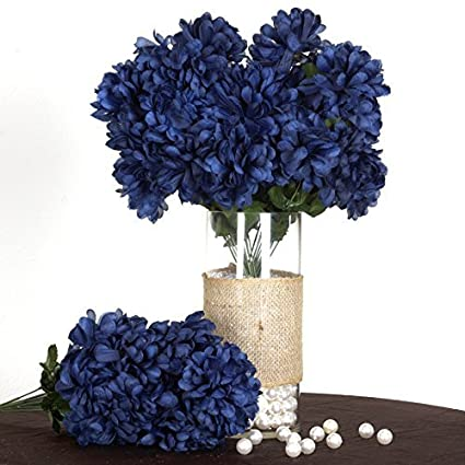 Amazon balsacircle 56 navy blue silk chrysanthemums 4 bushes balsacircle 56 navy blue silk chrysanthemums 4 bushes artificial flowers wedding party centerpieces arrangements mightylinksfo