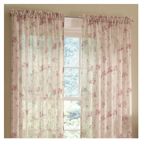 Style Selections 84-in L Light Filtering Floral Antique Rod Pocket Window Sheer Curtain ()