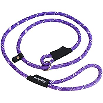"ZippyPaws Climbers Mountain Climbing Rope Leash - Slip Lead 6-Feet (Purple, Slip Lead 6-Feet (1/2"" rope))"