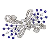 Womens Platinum Full Diamond Pave and Sapphire Bow Brooch