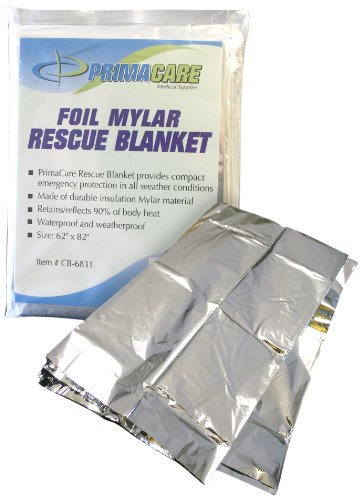 Primacare CB-6841-CS Emergency Foil Mylar Thermal Blanket, 82'' Length x 54'' Width (Pack of 10) by Primacare