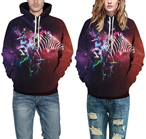 Pretty321 Women Girl 3D Galaxy Stars Unisex Hoodie Sweatshirt w/ Pocket Collection Abstract Galaxy