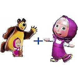 Brillante set de dos globos Masha y el oso, suministros de debe tener accesorio para fiesta y cumpleaños Globos Masha y el oso