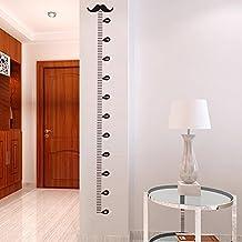 BIBITIME Black Mustache Height Chart Wall Decal Sticker Beard Growth Charts for Children Boys Girls Bedroom Kids Room Decor (Minimum scale: 80cm; Max:180 cm)