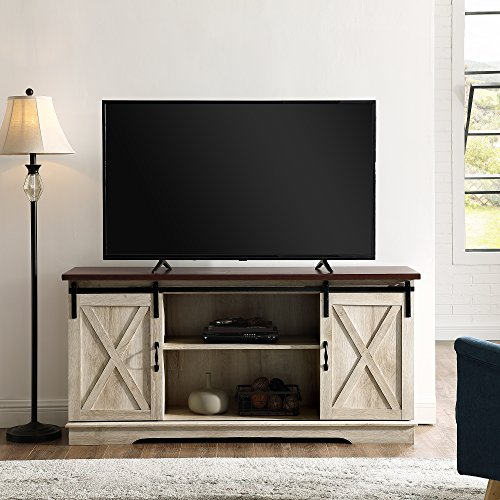 Home Accent Furnishings New 58 Inch Sliding Barn Door Television Stand White Oak Finish With Dark Top