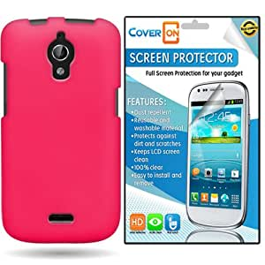 CoverON Huawei Vitria Hard Rubberized Slim Case Cover Bundle with Clear Anti-Glare LCD Screen Protector - Hot Pink