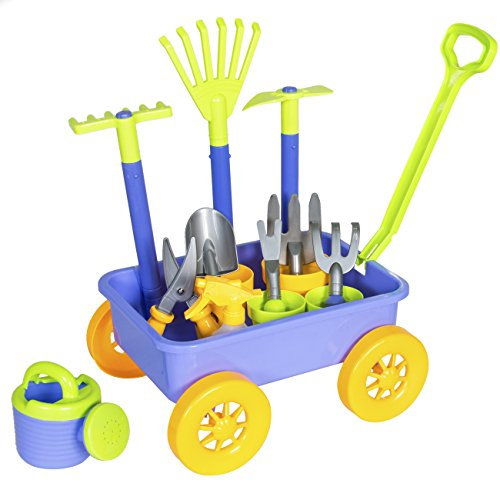 Toy Gardening Tools (Best Choice Products Garden Wagon With 8 Gardening Tools Fun Kids Toy Play Set)