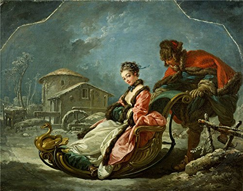 Oversized 3 Way Recliner (Oil Painting 'Francois Boucher - The Four Seasons-Winter, 1755', 10 x 13 inch / 25 x 32 cm , on High Definition HD canvas prints is for Gifts And Bar, Foyer And Nursery Decoration, simply)