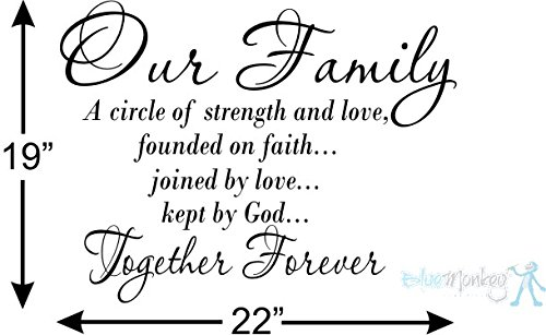 Our Family a Circle of Strength and Love Wall Vinyl Sticker Decal Home Decor Lettering (22″ by 20″) Made in USA