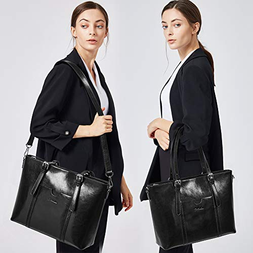 BOSTANTEN Women Leather Laptop Shoulder Handbag Vintage Briefcase 15'' Computer Work Tote Bag Black by BOSTANTEN (Image #1)
