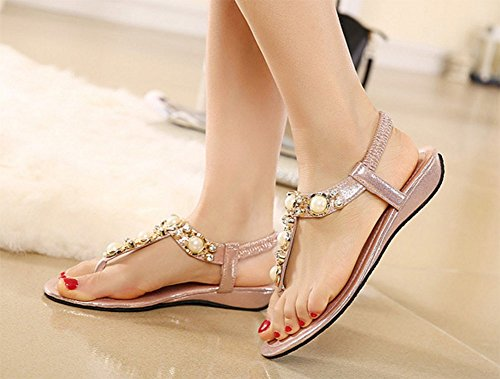Chfso Femmes Perles Strass Métal Boho Wedges T-strap Sandales Chaussures Rose