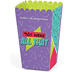 Big Dot of Happiness Personalized 90's Throwback - Custom 1990s Party Favor Popcorn Treat Boxes - Custom Text - Set of 12